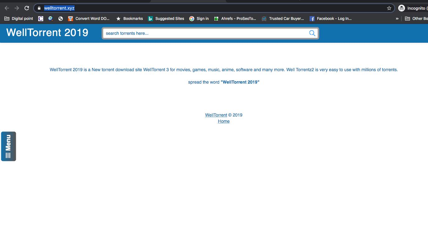 Screenshot of Homepage of welltorrent.xyz