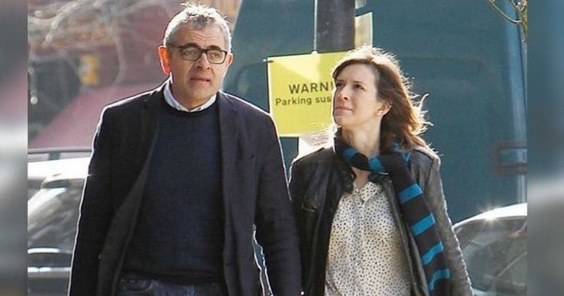 Lily Sastry with her father Rowan Atkinson